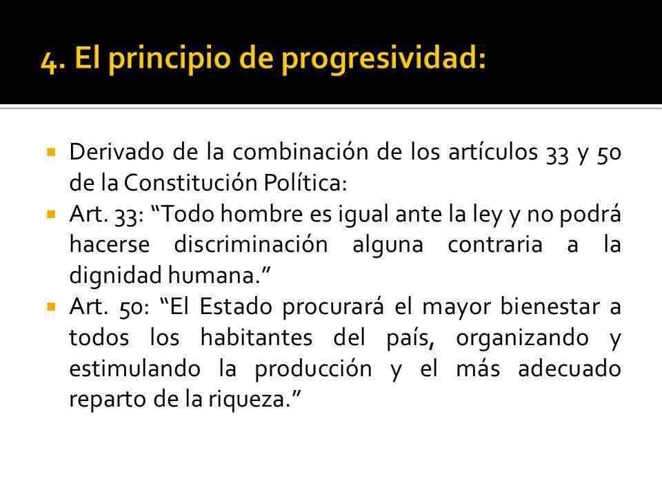 Derivado de la combinación de los artículos 33 y 50 de la Constitución Política: Art. 33: Todo hombre es igual ante la ley y no podrá hacerse discrimi