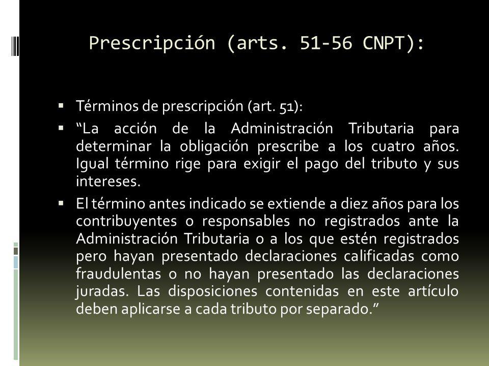 Prescripción (arts.51-56 CNPT): Cómputo de los términos (art.