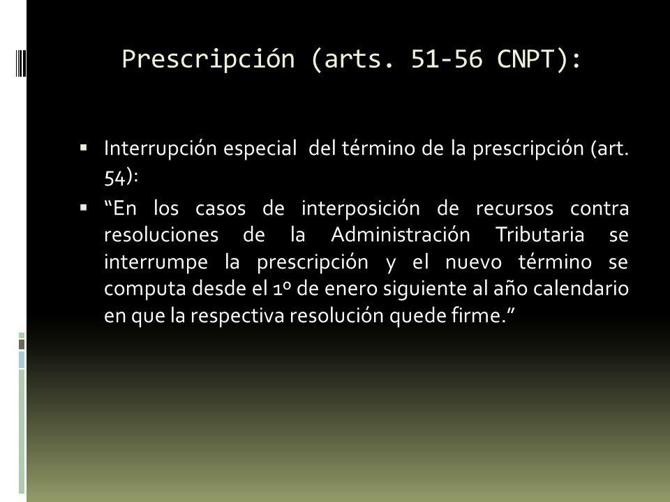 Prescripción (arts.51-56 CNPT): Suspensión de la prescripción: art.
