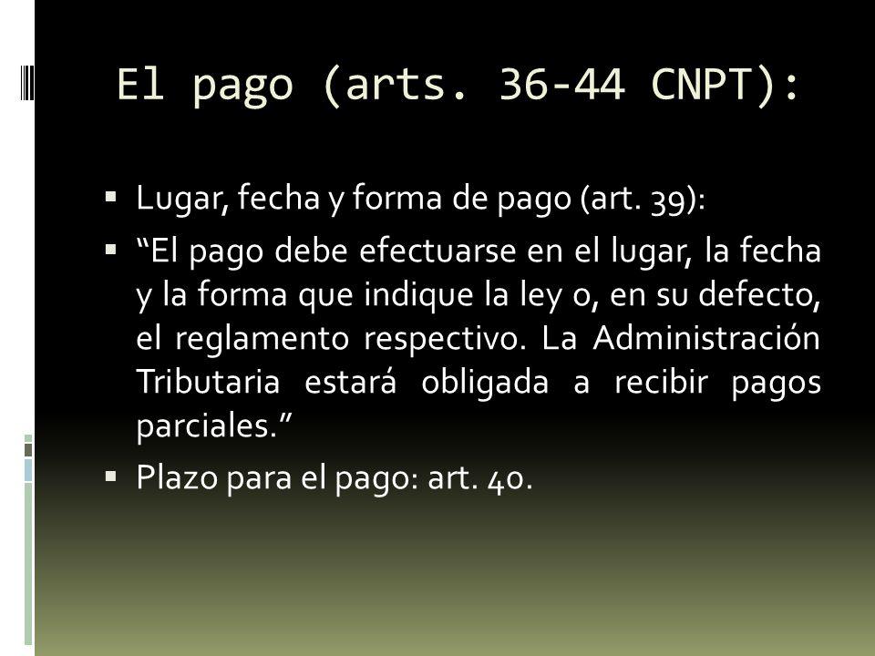 El pago (arts.36-44 CNPT): Retención o percepción de terceros (art.