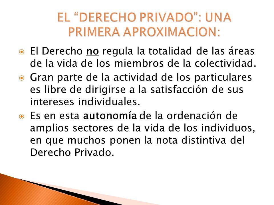 El Derecho no regula la totalidad de las áreas de la vida de los miembros de la colectividad. Gran parte de la actividad de los particulares es libre