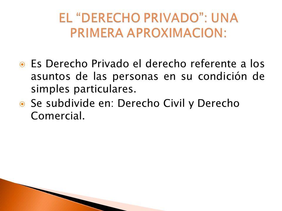 Es Derecho Privado el derecho referente a los asuntos de las personas en su condición de simples particulares. Se subdivide en: Derecho Civil y Derech