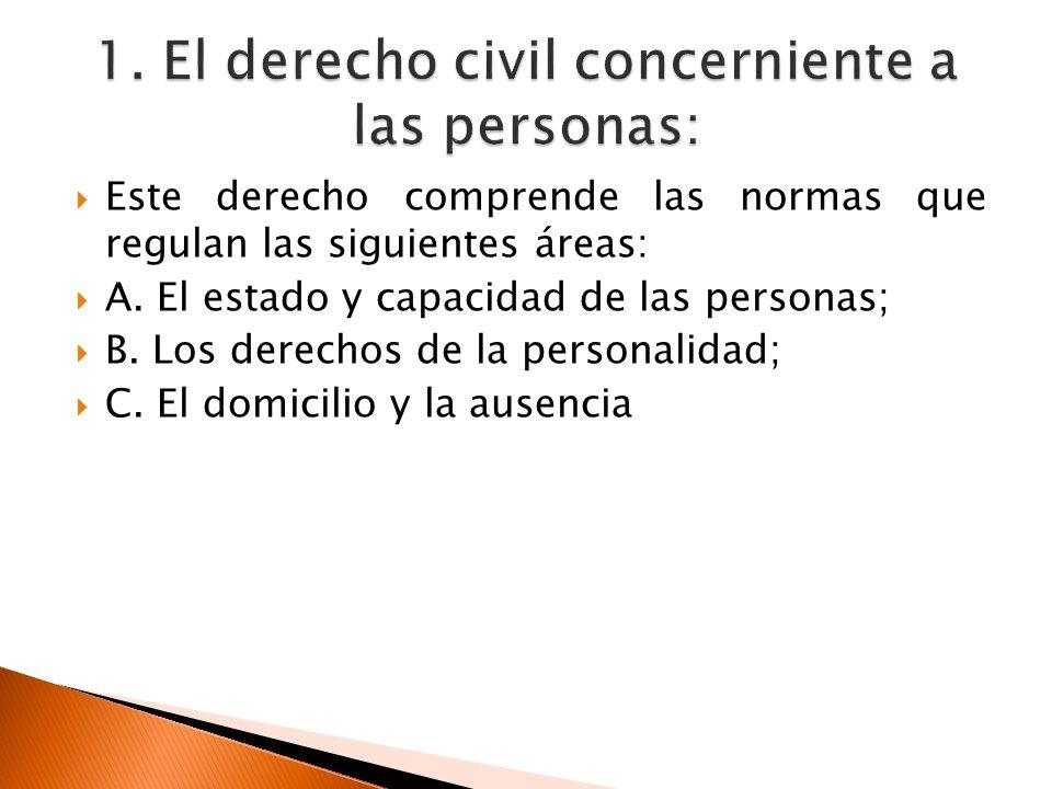 Este derecho comprende las normas que regulan las siguientes áreas: A. El estado y capacidad de las personas; B. Los derechos de la personalidad; C. E