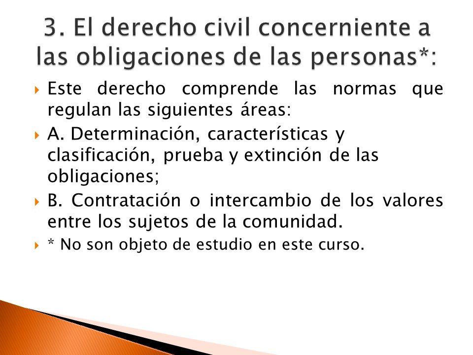 Este derecho comprende las normas que regulan las siguientes áreas: A. Determinación, características y clasificación, prueba y extinción de las oblig