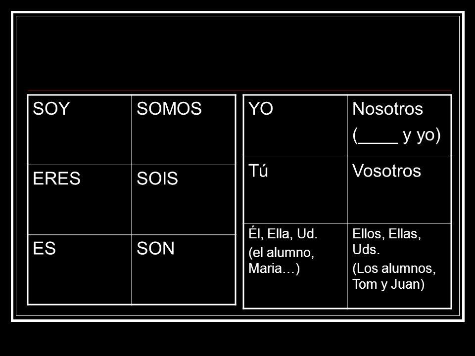 SOYSOMOS ERESSOIS ESSON YONosotros (____ y yo) TúTúVosotros Él, Ella, Ud. (el alumno, Maria…) Ellos, Ellas, Uds. (Los alumnos, Tom y Juan)
