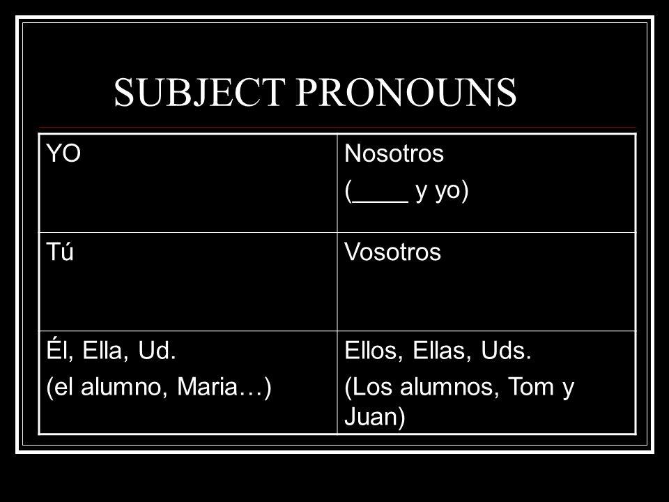 SUBJECT PRONOUNS YONosotros (____ y yo) TúTúVosotros Él, Ella, Ud. (el alumno, Maria…) Ellos, Ellas, Uds. (Los alumnos, Tom y Juan)