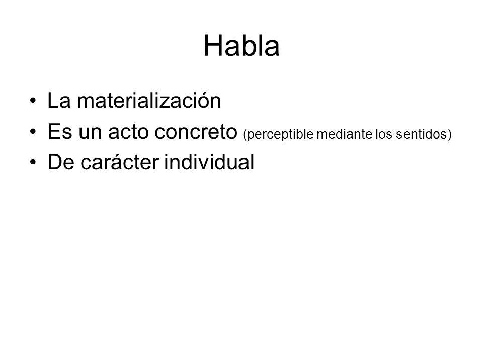 Habla La materialización Es un acto concreto (perceptible mediante los sentidos) De carácter individual