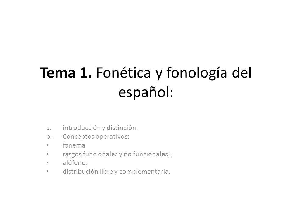 Tema 1. Fonética y fonología del español: a.introducción y distinción. b.Conceptos operativos: fonema rasgos funcionales y no funcionales;, alófono, d