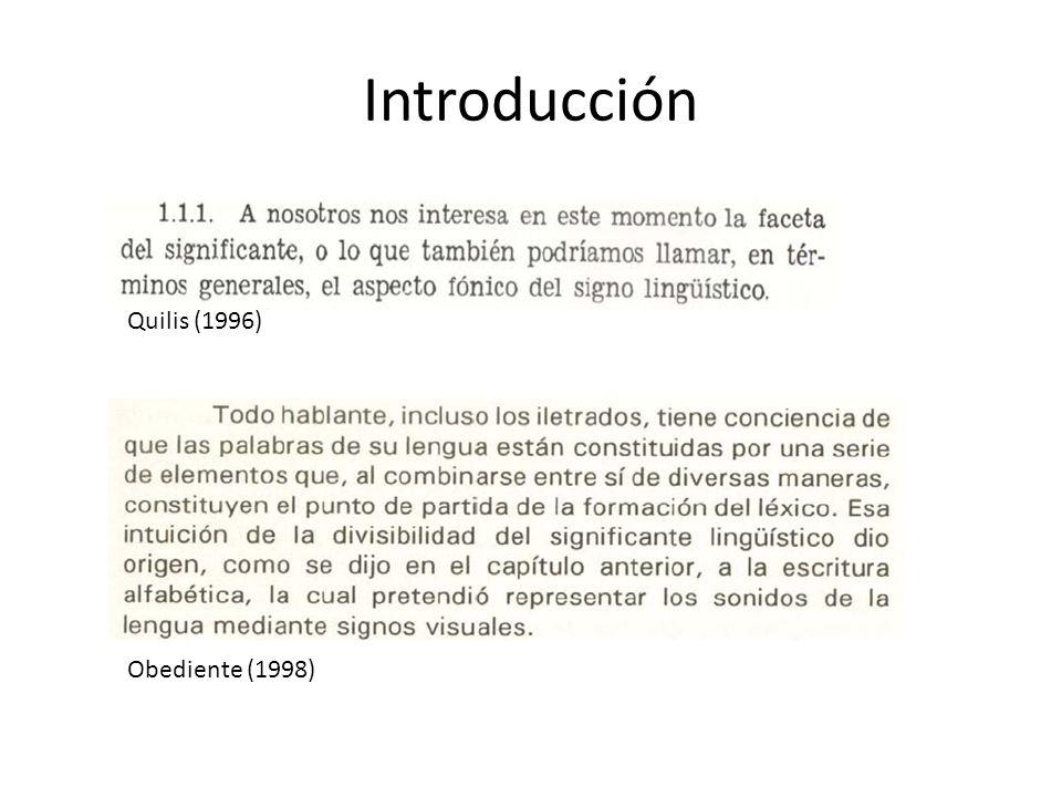 Introducción Obediente (1998) Quilis (1996)