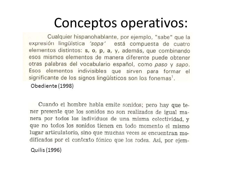 Conceptos operativos: Quilis (1996) Obediente (1998)