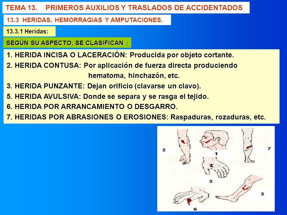 TEMA 13. PRIMEROS AUXILIOS Y TRASLADOS DE ACCIDENTADOS 1. HERIDA INCISA O LACERACIÓN: Producida por objeto cortante. 2. HERIDA CONTUSA: Por aplicación