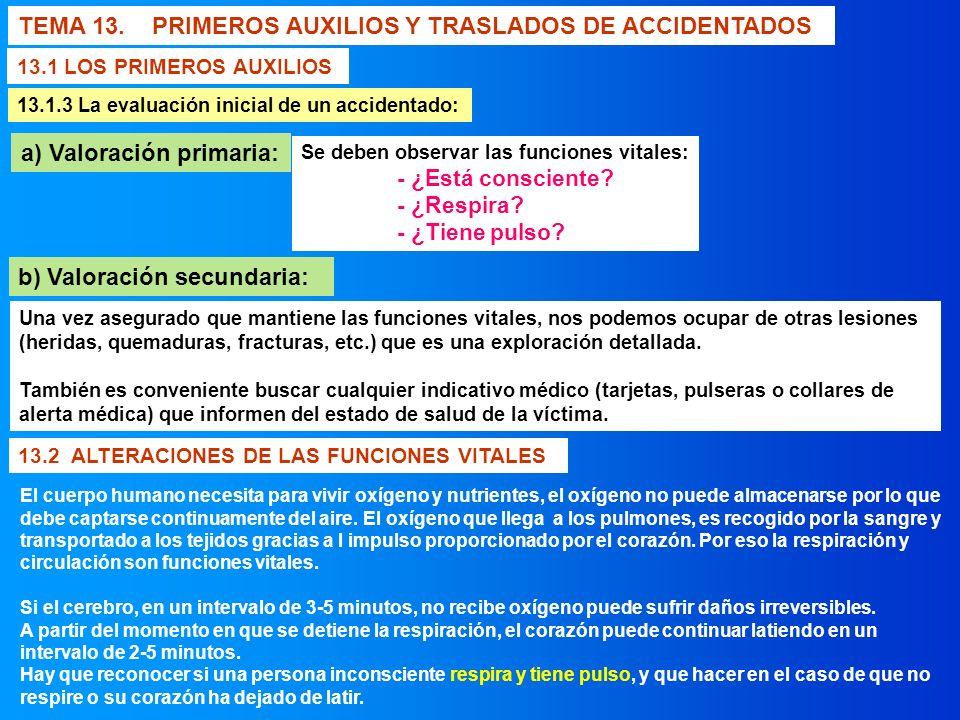 TEMA 13. PRIMEROS AUXILIOS Y TRASLADOS DE ACCIDENTADOS 13.1 LOS PRIMEROS AUXILIOS 13.1.3 La evaluación inicial de un accidentado: a) Valoración primar