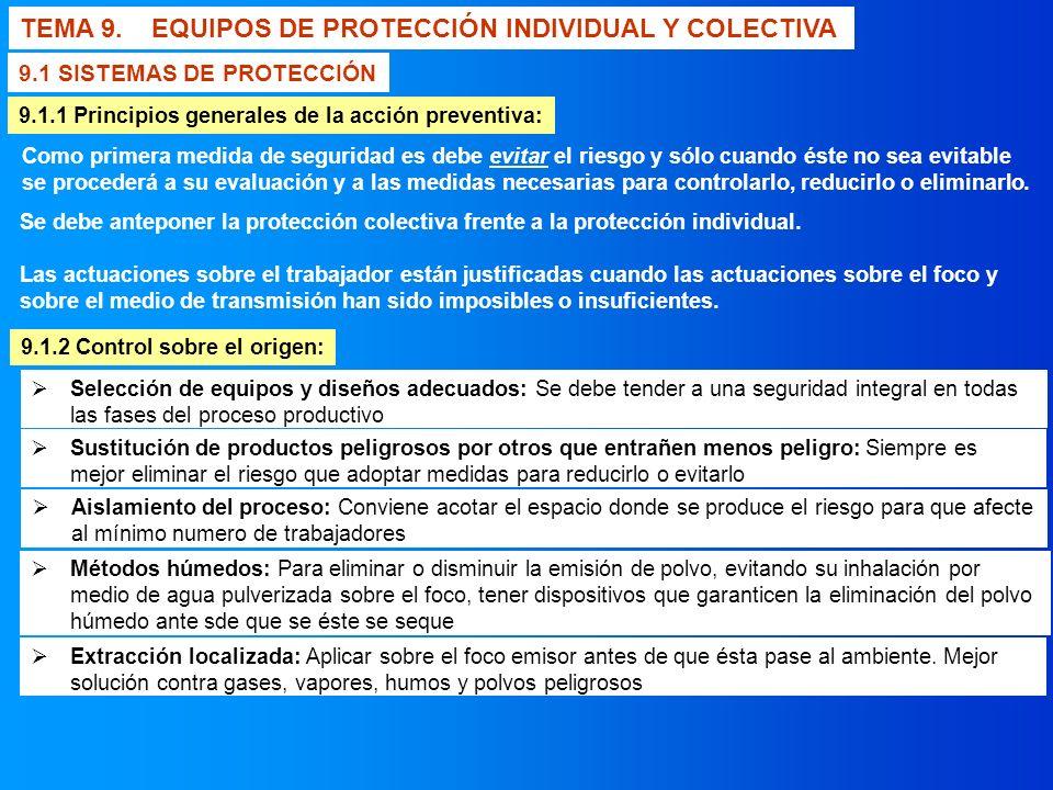 TEMA 9. EQUIPOS DE PROTECCIÓN INDIVIDUAL Y COLECTIVA 9.1.1 Principios generales de la acción preventiva: Como primera medida de seguridad es debe evit
