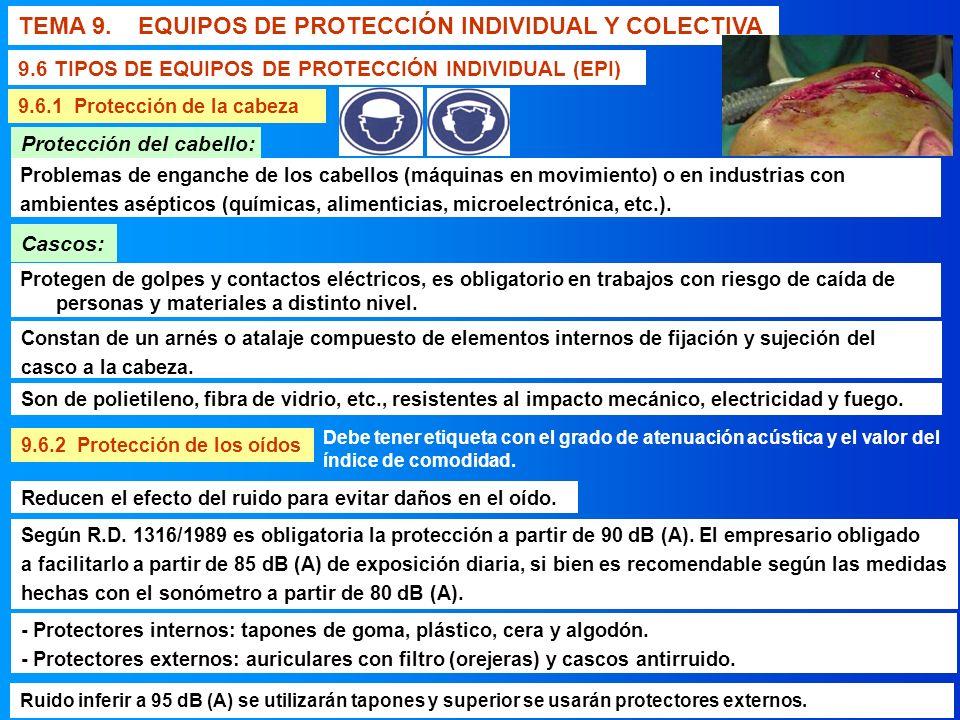 TEMA 9. EQUIPOS DE PROTECCIÓN INDIVIDUAL Y COLECTIVA 9.6 TIPOS DE EQUIPOS DE PROTECCIÓN INDIVIDUAL (EPI) 9.6.1 Protección de la cabeza 9.6.2 Protecció