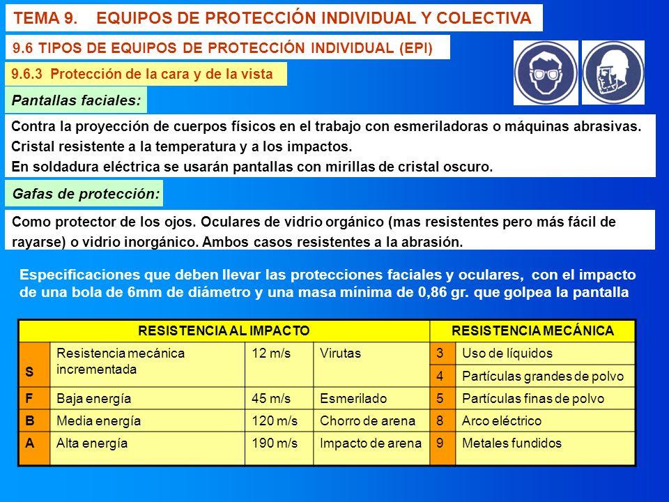 TEMA 9. EQUIPOS DE PROTECCIÓN INDIVIDUAL Y COLECTIVA 9.6 TIPOS DE EQUIPOS DE PROTECCIÓN INDIVIDUAL (EPI) 9.6.3 Protección de la cara y de la vista Gaf
