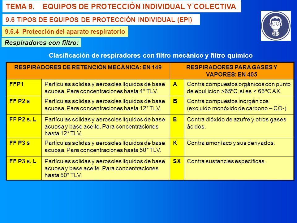 TEMA 9. EQUIPOS DE PROTECCIÓN INDIVIDUAL Y COLECTIVA 9.6 TIPOS DE EQUIPOS DE PROTECCIÓN INDIVIDUAL (EPI) 9.6.4 Protección del aparato respiratorio Res