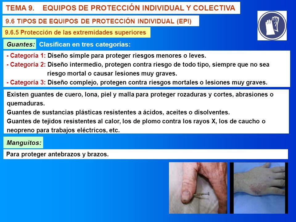 TEMA 9. EQUIPOS DE PROTECCIÓN INDIVIDUAL Y COLECTIVA 9.6 TIPOS DE EQUIPOS DE PROTECCIÓN INDIVIDUAL (EPI) 9.6.5 Protección de las extremidades superior