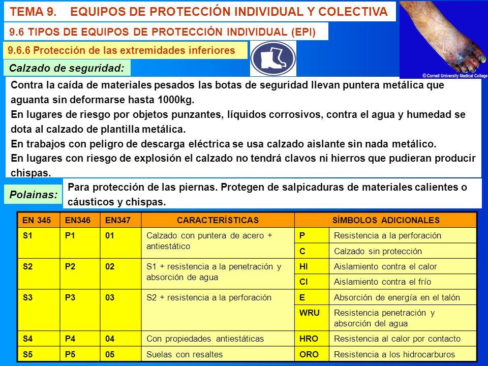 TEMA 9. EQUIPOS DE PROTECCIÓN INDIVIDUAL Y COLECTIVA 9.6 TIPOS DE EQUIPOS DE PROTECCIÓN INDIVIDUAL (EPI) 9.6.6 Protección de las extremidades inferior