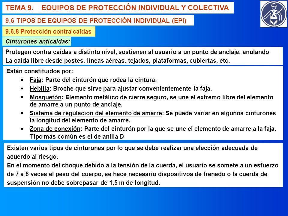 TEMA 9. EQUIPOS DE PROTECCIÓN INDIVIDUAL Y COLECTIVA 9.6 TIPOS DE EQUIPOS DE PROTECCIÓN INDIVIDUAL (EPI) 9.6.8 Protección contra caídas Cinturones ant