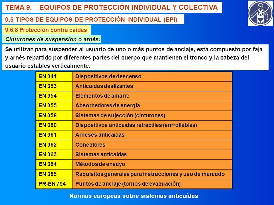TEMA 9. EQUIPOS DE PROTECCIÓN INDIVIDUAL Y COLECTIVA 9.6 TIPOS DE EQUIPOS DE PROTECCIÓN INDIVIDUAL (EPI) 9.6.8 Protección contra caídas Cinturones de