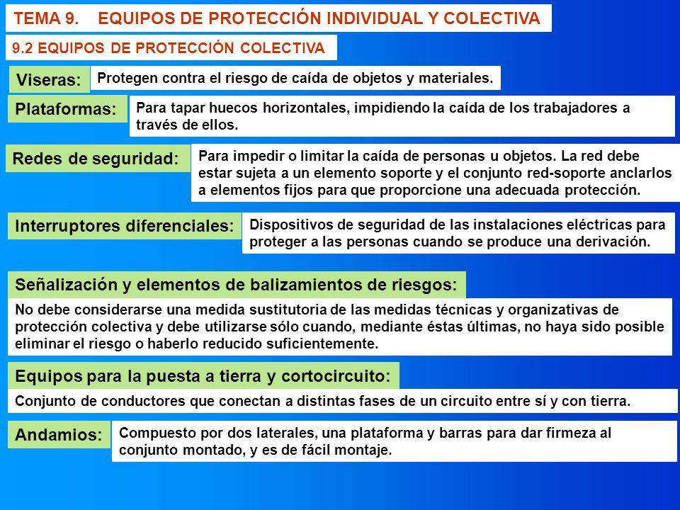 TEMA 9. EQUIPOS DE PROTECCIÓN INDIVIDUAL Y COLECTIVA Andamios: 9.2 EQUIPOS DE PROTECCIÓN COLECTIVA Redes de seguridad: Interruptores diferenciales: Se