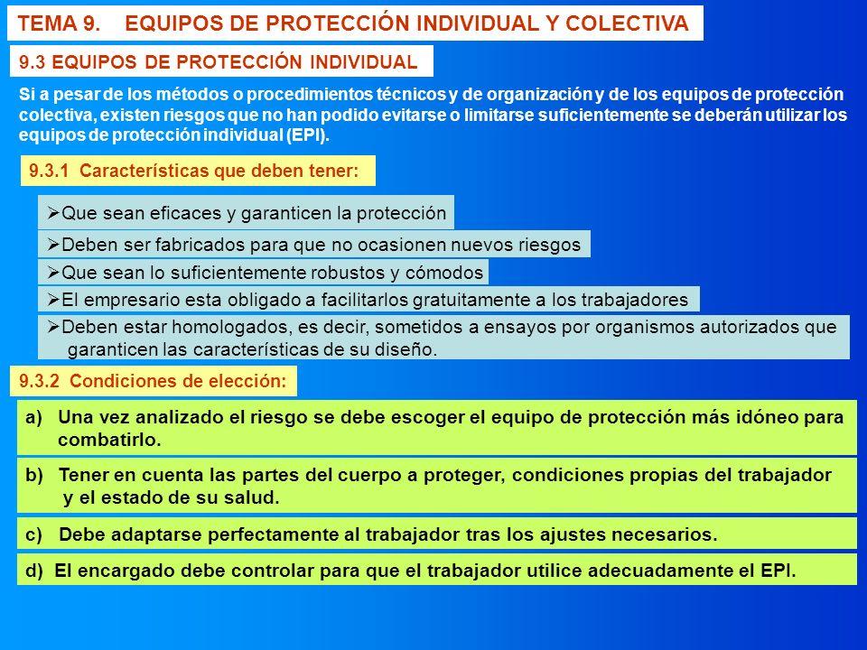 TEMA 9. EQUIPOS DE PROTECCIÓN INDIVIDUAL Y COLECTIVA 9.3.1 Características que deben tener: 9.3 EQUIPOS DE PROTECCIÓN INDIVIDUAL Si a pesar de los mét