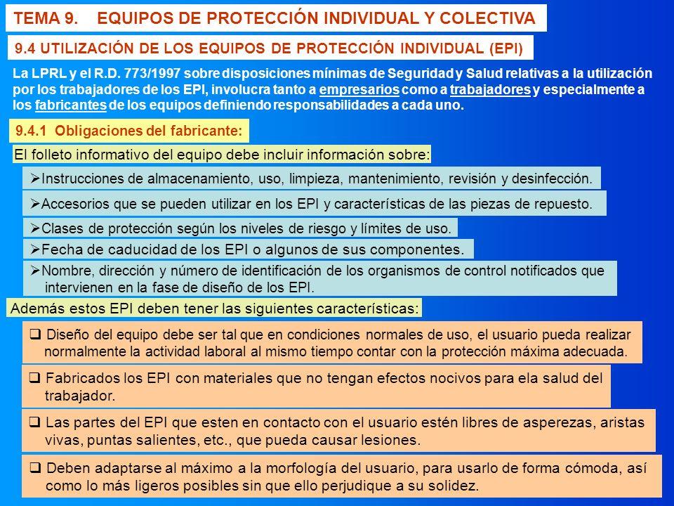 TEMA 9. EQUIPOS DE PROTECCIÓN INDIVIDUAL Y COLECTIVA 9.4 UTILIZACIÓN DE LOS EQUIPOS DE PROTECCIÓN INDIVIDUAL (EPI) La LPRL y el R.D. 773/1997 sobre di
