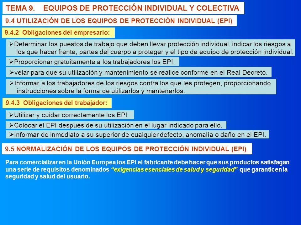 TEMA 9. EQUIPOS DE PROTECCIÓN INDIVIDUAL Y COLECTIVA 9.4.2 Obligaciones del empresario: 9.4.3 Obligaciones del trabajador: 9.4 UTILIZACIÓN DE LOS EQUI