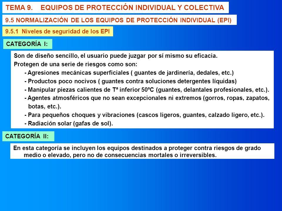TEMA 9. EQUIPOS DE PROTECCIÓN INDIVIDUAL Y COLECTIVA 9.5 NORMALIZACIÓN DE LOS EQUIPOS DE PROTECCIÓN INDIVIDUAL (EPI) 9.5.1 Niveles de seguridad de los