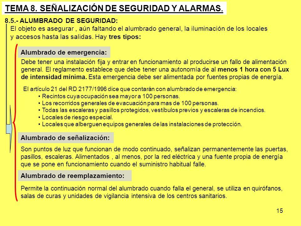 15 TEMA 8. SEÑALIZACIÓN DE SEGURIDAD Y ALARMAS. 8.5.- ALUMBRADO DE SEGURIDAD: El objeto es asegurar, aún faltando el alumbrado general, la iluminación