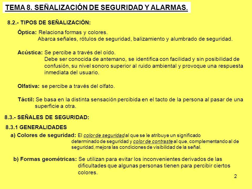 2 TEMA 8. SEÑALIZACIÓN DE SEGURIDAD Y ALARMAS. 8.3.- SEÑALES DE SEGURIDAD: Óptica: Relaciona formas y colores. Abarca señales, rótulos de seguridad, b
