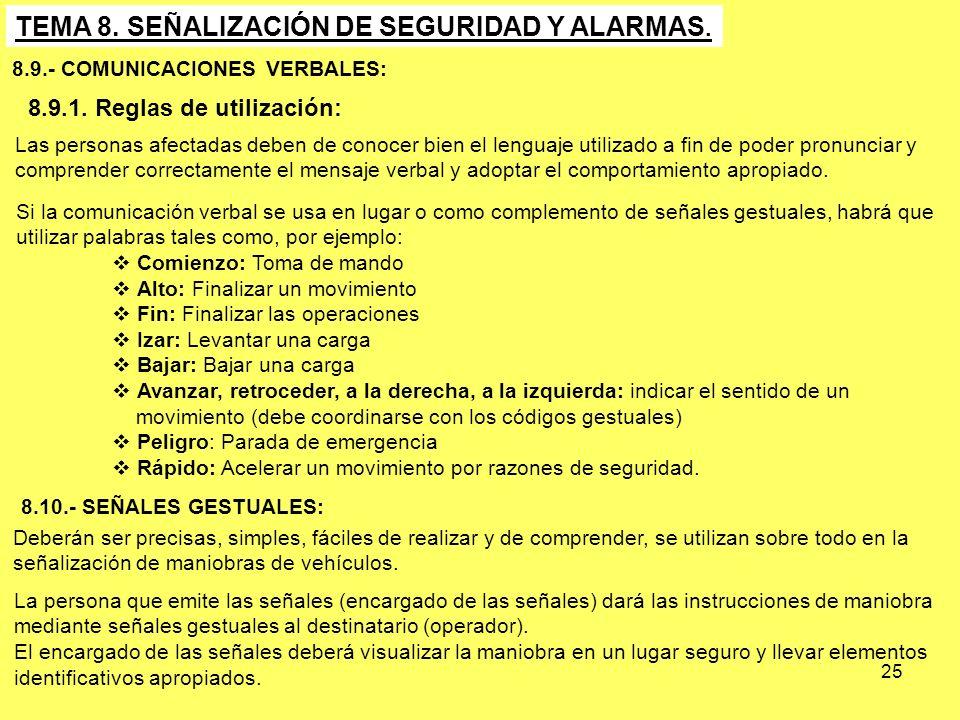 25 TEMA 8. SEÑALIZACIÓN DE SEGURIDAD Y ALARMAS. 8.9.- COMUNICACIONES VERBALES: 8.9.1. Reglas de utilización: Las personas afectadas deben de conocer b