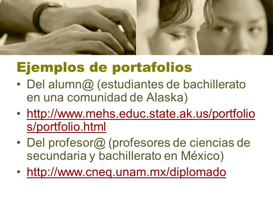 Ejemplos de portafolios Del alumn@ (estudiantes de bachillerato en una comunidad de Alaska) http://www.mehs.educ.state.ak.us/portfolio s/portfolio.htm