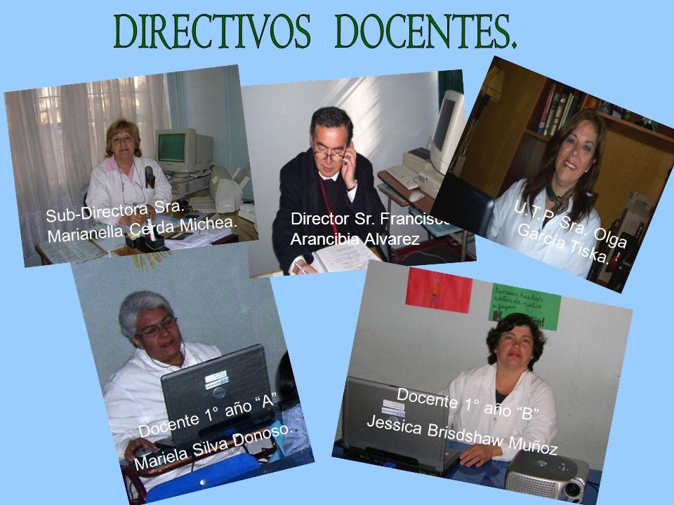 Director Sr. Francisco Arancibia Alvarez Docente 1° año A Mariela Silva Donoso.. Sub-Directora Sra. Marianella Cerda Michea. Docente 1° año B Jessica