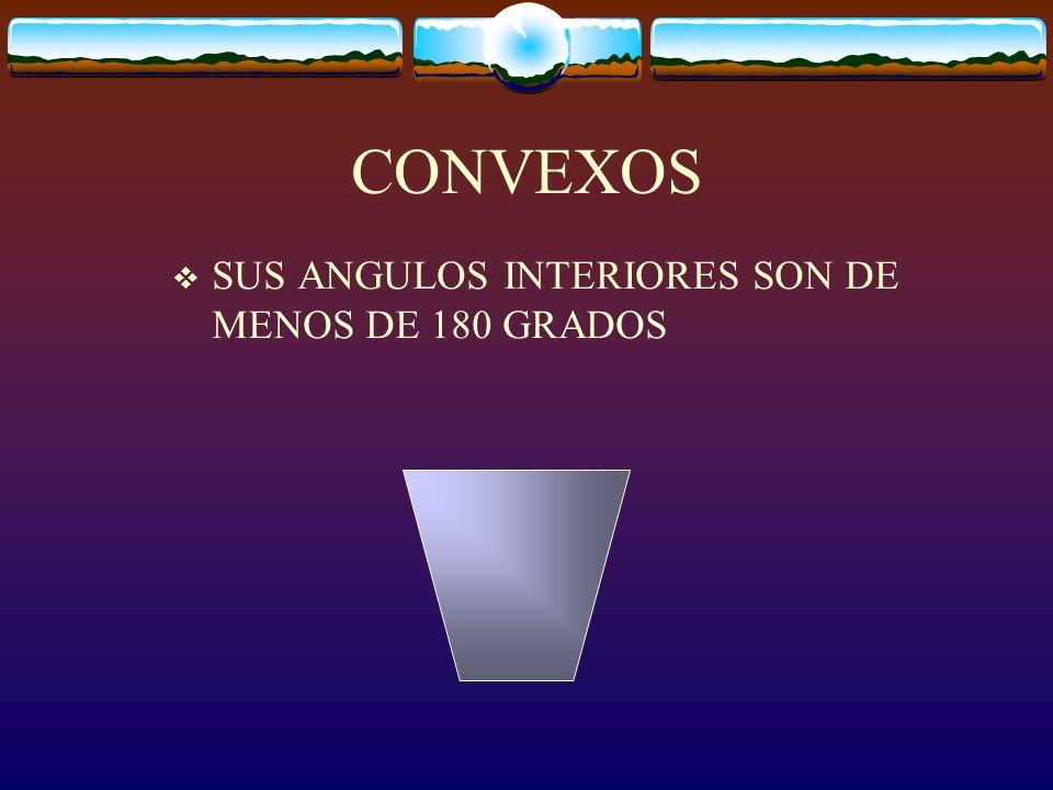 CLASIFICACION POR SUS ANGULOS INTERIORES CONCAVOS TIENE AL MENOS UN ANGULO INTERIOR DE MAS DE 180 GRADOS