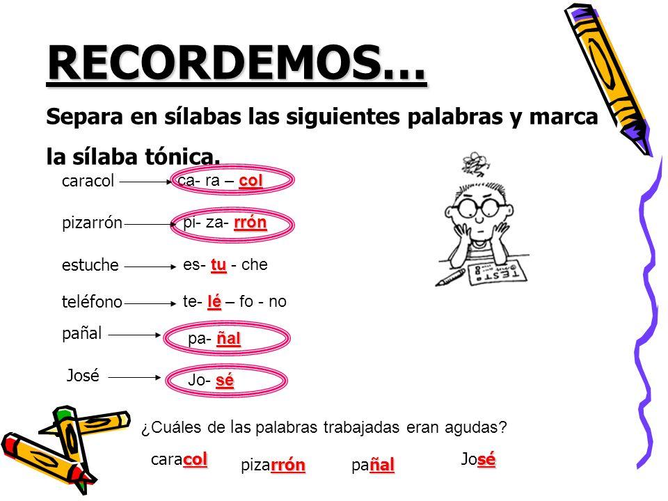 Recordemos… Las palabras agudas son todas aquellas palabras en las que se carga la voz en la última sílaba, como por ejemplo: Andrés, José, Inés, Belén, _____________, ____________, _______________, ______________, _______________, etc.