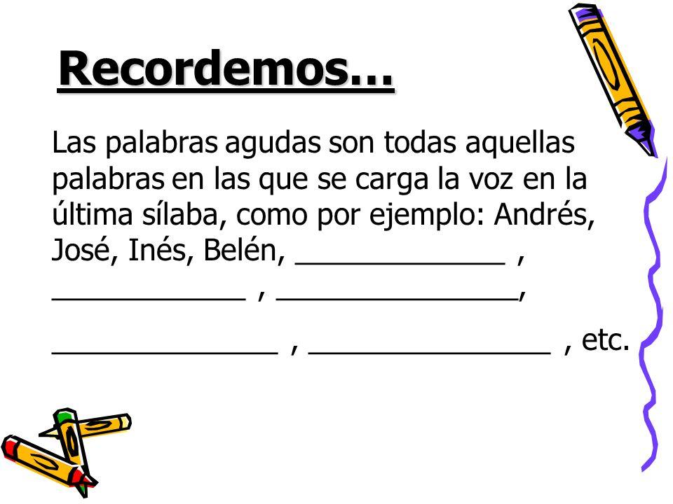 Recordemos… Las palabras agudas son todas aquellas palabras en las que se carga la voz en la última sílaba, como por ejemplo: Andrés, José, Inés, Belé
