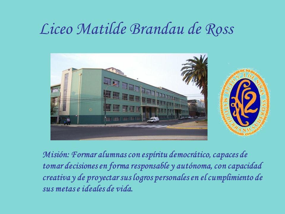 Liceo Matilde Brandau de Ross Misión: Formar alumnas con espíritu democrático, capaces de tomar decisiones en forma responsable y autónoma, con capaci