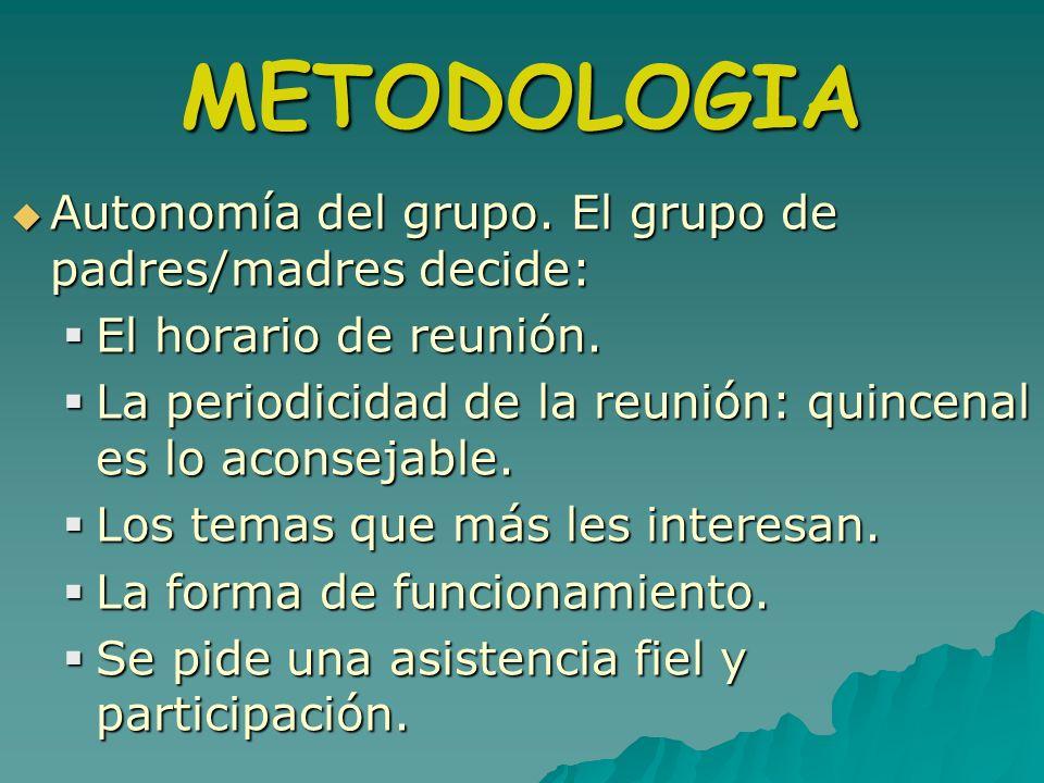 METODOLOGIA Autonomía del grupo. El grupo de padres/madres decide: Autonomía del grupo. El grupo de padres/madres decide: El horario de reunión. El ho