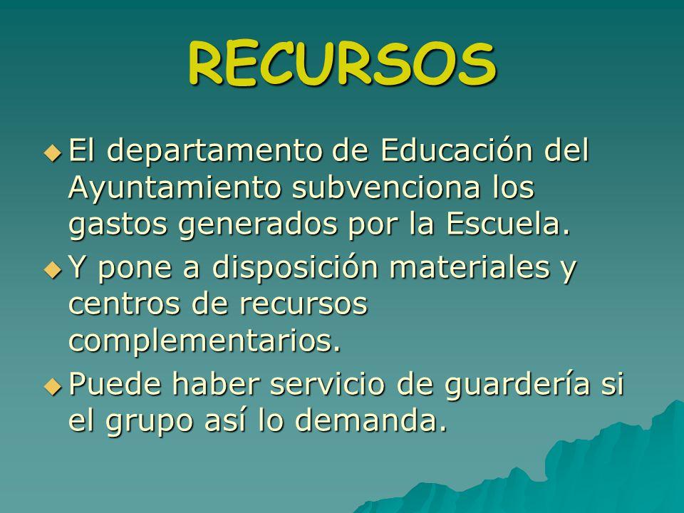 RECURSOS El departamento de Educación del Ayuntamiento subvenciona los gastos generados por la Escuela. El departamento de Educación del Ayuntamiento