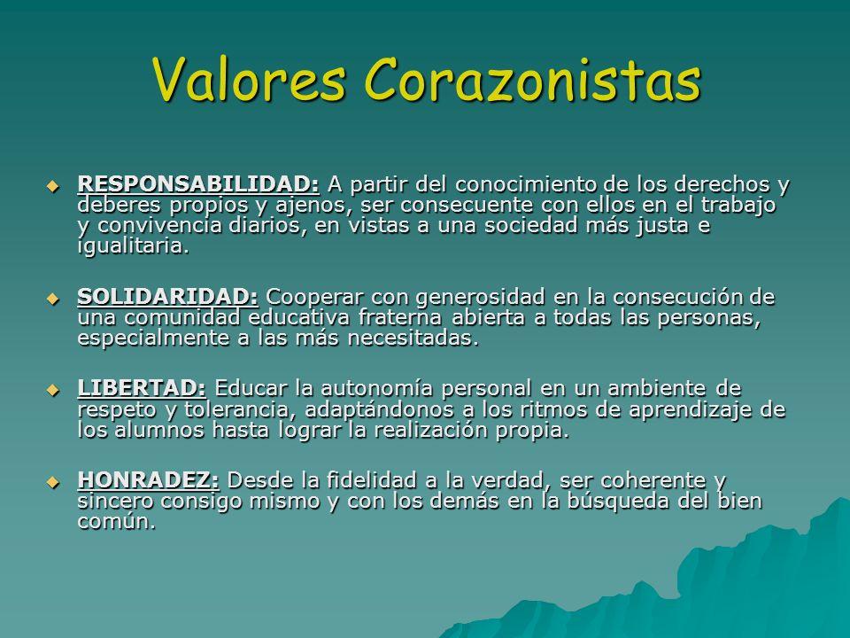 Valores Corazonistas RESPONSABILIDAD: A partir del conocimiento de los derechos y deberes propios y ajenos, ser consecuente con ellos en el trabajo y