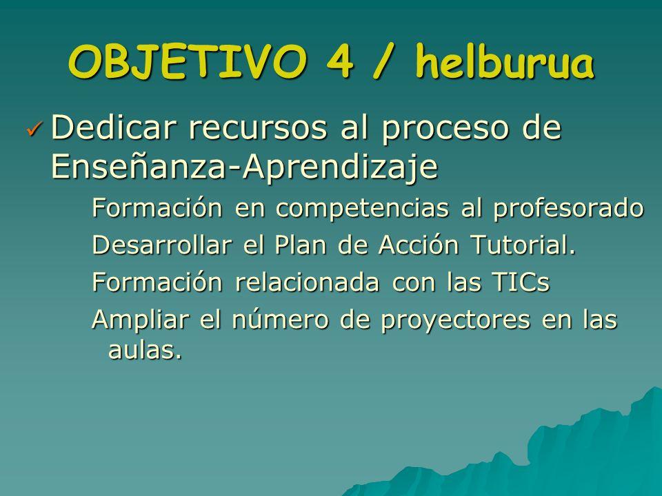 OBJETIVO 4 / helburua Dedicar recursos al proceso de Enseñanza-Aprendizaje Dedicar recursos al proceso de Enseñanza-Aprendizaje Formación en competenc
