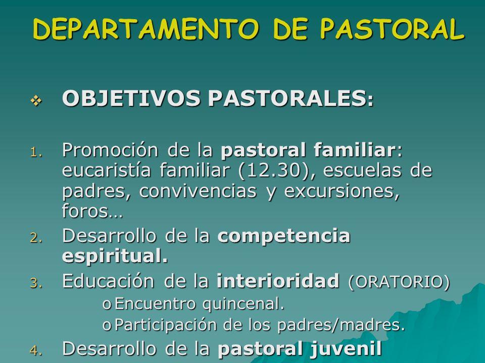 DEPARTAMENTO DE PASTORAL OBJETIVOS PASTORALES : OBJETIVOS PASTORALES : 1. Promoción de la pastoral familiar: eucaristía familiar (12.30), escuelas de