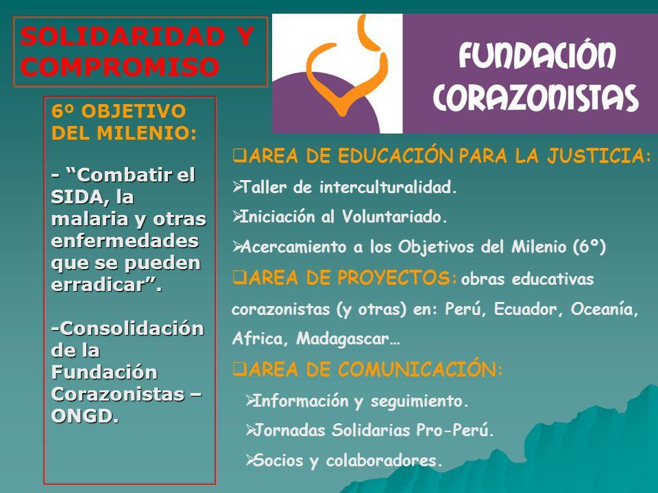 AREA DE EDUCACIÓN PARA LA JUSTICIA: Taller de interculturalidad. Iniciación al Voluntariado. Acercamiento a los Objetivos del Milenio (6º) AREA DE PRO