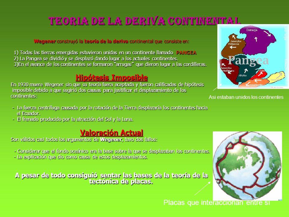 TEORIA DE LA DERIVA CONTINENTAL Wegener construyó la teoría de la deriva continental que consiste en: 1) Todas las tierras emergidas estuvieron unidas
