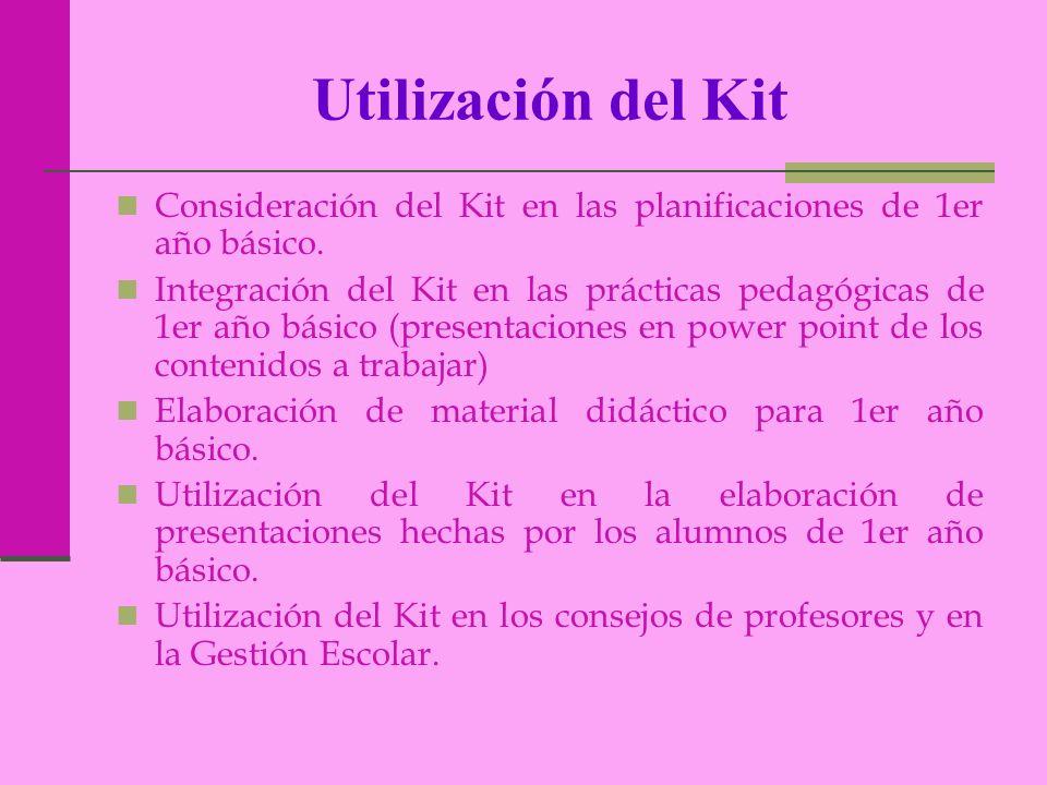 Utilización del Kit Consideración del Kit en las planificaciones de 1er año básico. Integración del Kit en las prácticas pedagógicas de 1er año básico