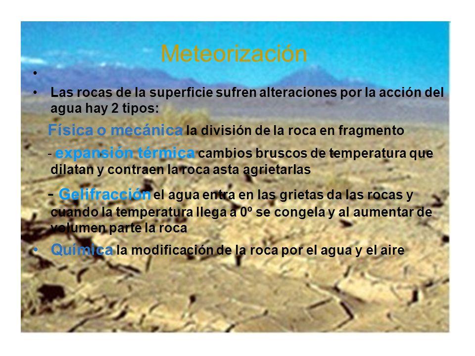 Meteorización Las rocas de la superficie sufren alteraciones por la acción del agua hay 2 tipos: Física o mecánica la división de la roca en fragmento
