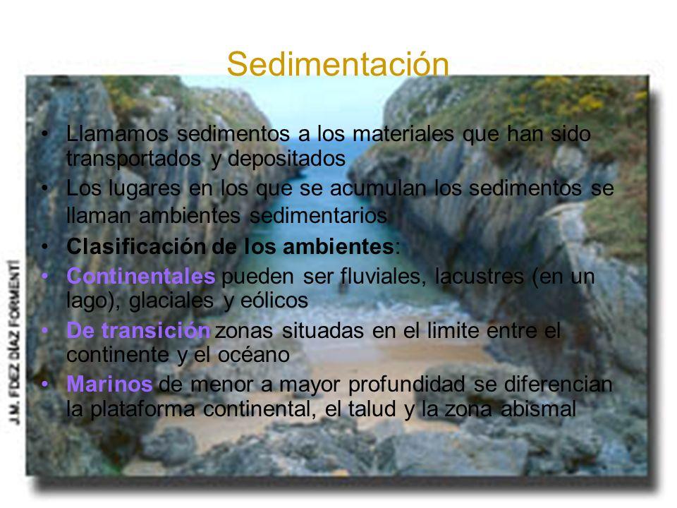 Sedimentación Llamamos sedimentos a los materiales que han sido transportados y depositados Los lugares en los que se acumulan los sedimentos se llama