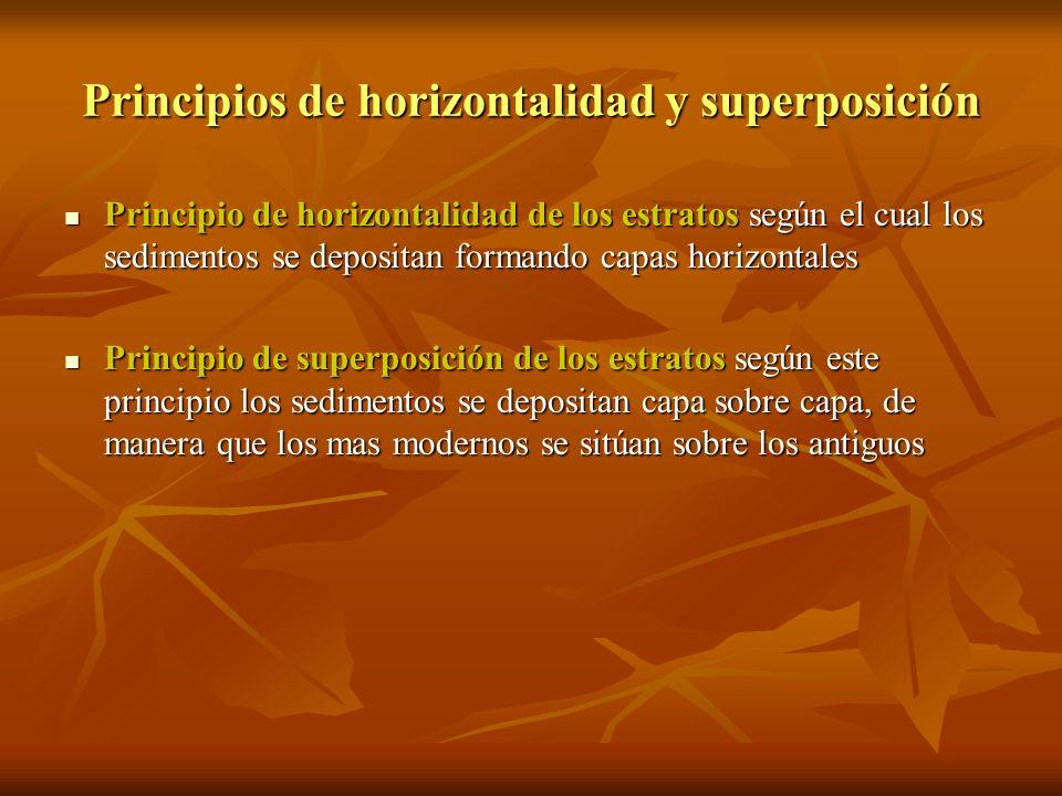 Principios de horizontalidad y superposición Principio de horizontalidad de los estratos según el cual los sedimentos se depositan formando capas hori