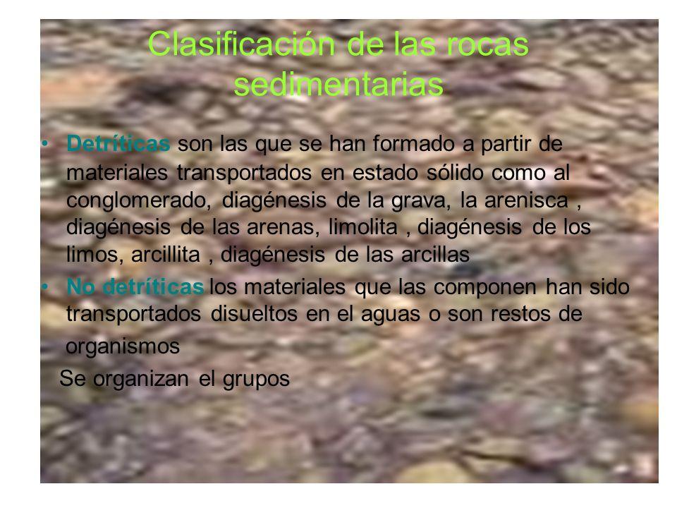Clasificación de las rocas sedimentarias Detríticas son las que se han formado a partir de materiales transportados en estado sólido como al conglomer